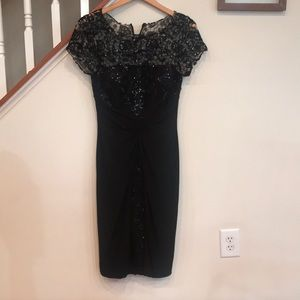 David Meister cocktail dress embellished lace